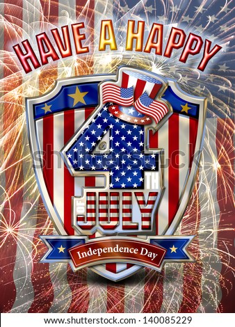 Have a Happy 4th July Chrome Graphic on Fireworks combined with Stars and Stripes flag background, 1. - stock photo