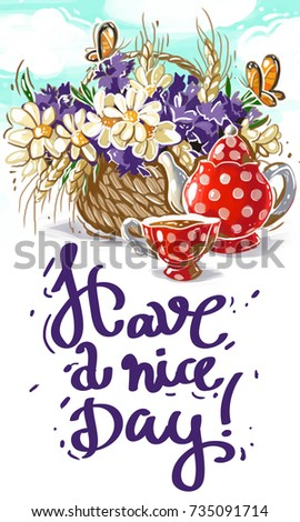 Have nice day greeting card beautiful stock illustration 735091714 have a nice day greeting card with beautiful lettering and flowers m4hsunfo