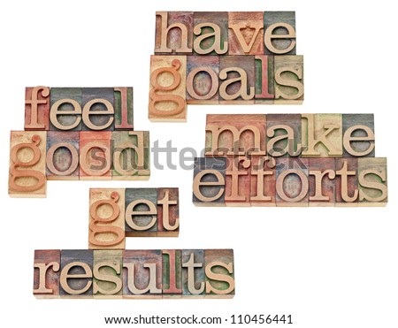 have goals, make efforts, get results, feel good - motivation and success concept - collage of isolated text in vintage letterpress wood type - stock photo