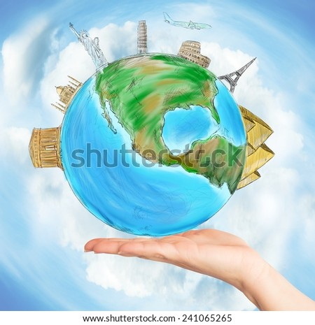 Have the whole world in one hand - stock photo