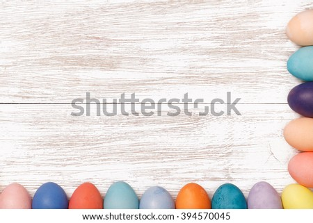 Have Yourself Happy Easter. Post blog social media Easter. View from above with copy space. Banner template layout mockup for happy Easter. Wooden table, top view on workplace. - stock photo