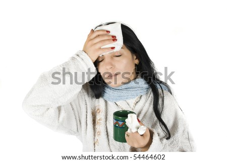 Having a bad cold with fever on white background - stock photo