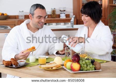 Having breakfast together - stock photo