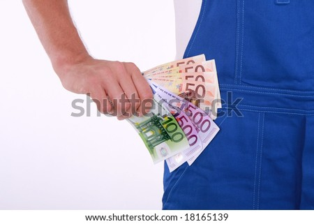 Having euro money in the hand