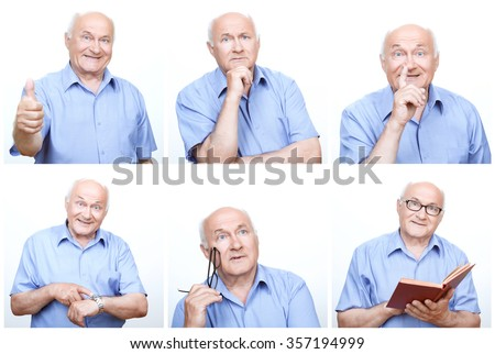 Having fun. Collage of  senior man using variety of gestures and mimics during photoshoot.  - stock photo
