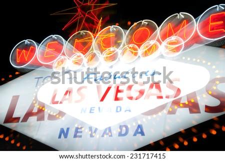 having fun in las vegas at night light blur - stock photo