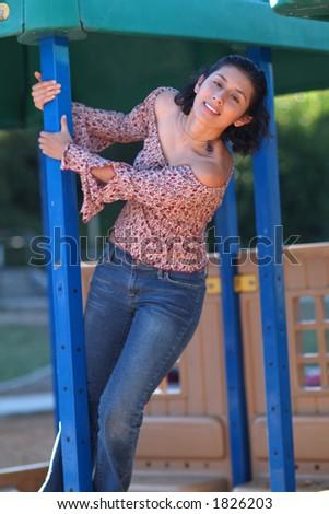 having fun in the park - stock photo