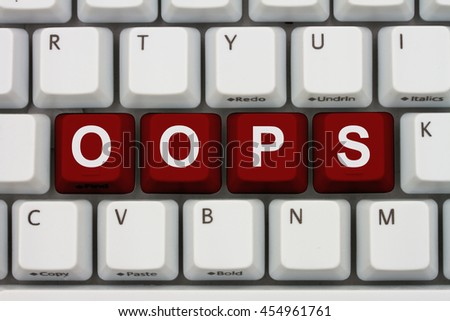 Having problems with your computer, A close-up of a keyboard with red highlighted text Oops - stock photo