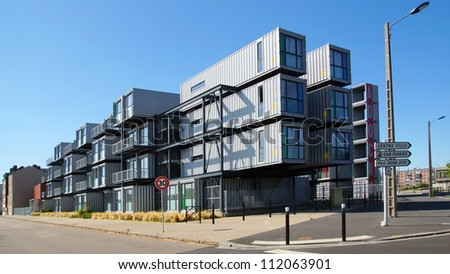 HAVRE, FRANCE-AUGUST 09:A hostel for students from containers. A new type of modular and eco-friendly houses.The idea originated in the Netherlands and built in Havre;August 09, 2012 in Havre,France.