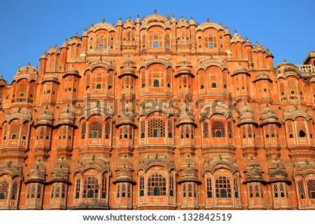 hawa mahal - palace of winds in Jaipur India - stock photo