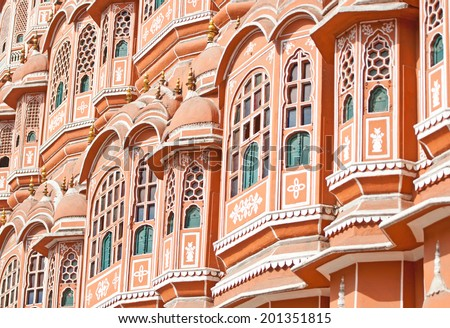 hawa mahal palace of winds in the pink city in india - rajasthan - jaipur - stock photo