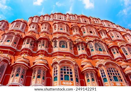 Hawa Mahal palace (Palace of the Winds) in Jaipur, India - stock photo