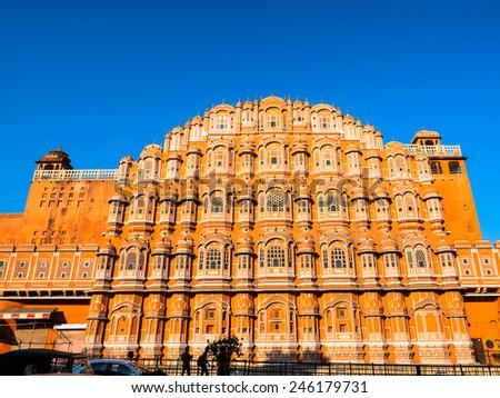 Hawa Mahal, the palace in Jaipur, Rajasthan, India - stock photo