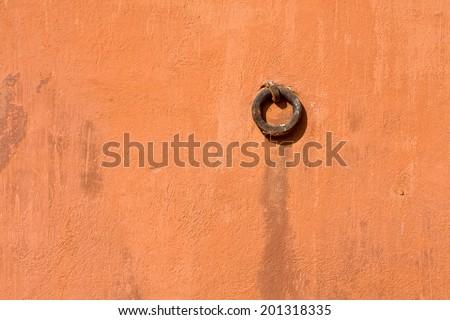 Hawa Mahal, the Palace of Winds, Jaipur, Rajasthan, India. Ring in the wall close up. - stock photo