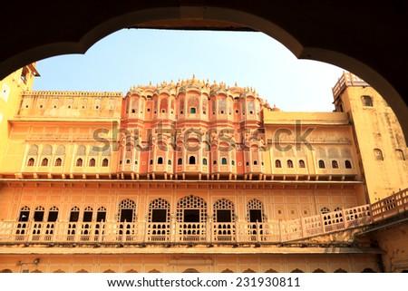 Hawa Mahal - Wind Palace in Jaipur, Rajasthan, India - stock photo