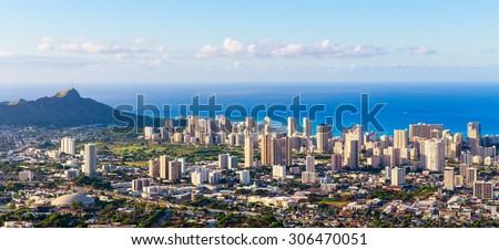 Hawaii city skyline - stock photo