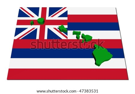 Hawaii 3d render map on their flag illustration