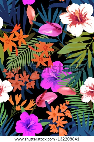 hawaii feeling flowers background on textile, high fashion trend pattern design with painterly brush edges - stock photo