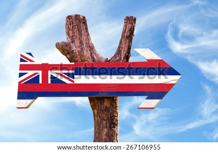 Hawaii Flag sign with sky background - stock photo