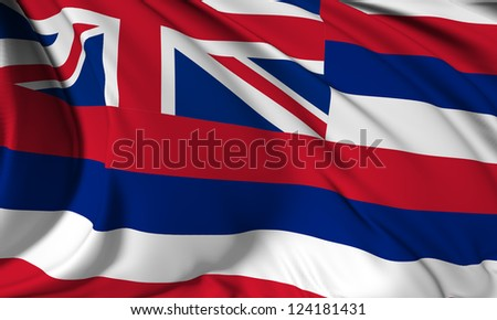 Hawaii flag - USA state flags collection no_3 - stock photo