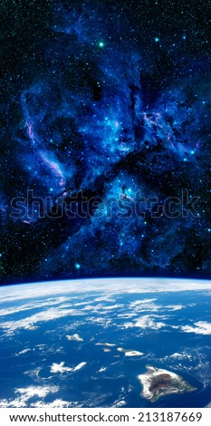 Hawaii islands aerial space stars Earth background. Elements of this image furnished by NASA. - stock photo