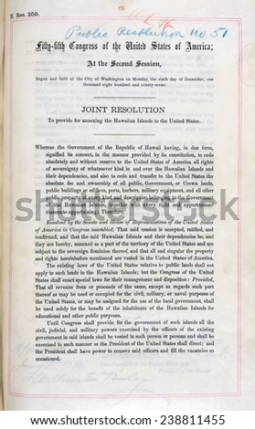 Hawaii. Joint Resolution to Provide for Annexing the Hawaiian Islands to the United States. Enrolled Acts and Resolutions of Congress; General Records of the United States Government (1898)