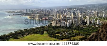 Hawaii - panorama view, Waikiki Honolulu, View from Diamondhead - stock photo