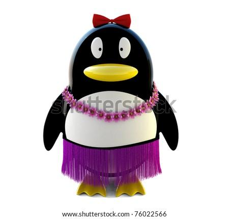 Hawaii penguin girl - stock photo