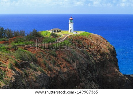Hawaii's Kilauea Point Lighthouse, built in 1913 on the island of Kauai, is on the National Register of Historic Places. - stock photo