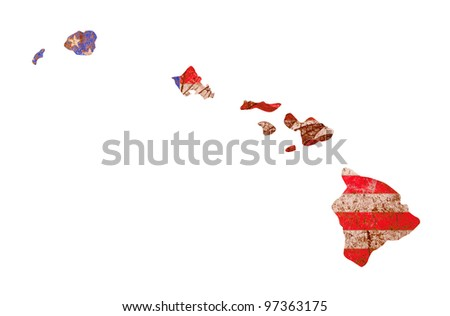 Hawaii state of the United States of America in grunge flag pattern isolated on white background - stock photo