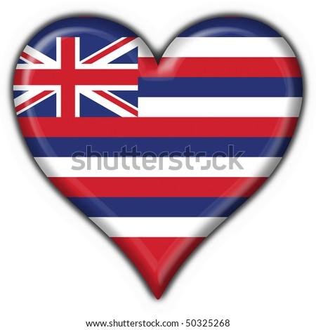 Hawaii (USA State) button flag heart shape - stock photo
