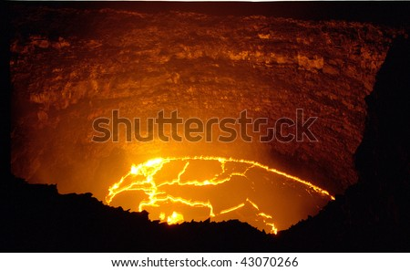 Hawaii volcano lava lake Puu Oo volcano - stock photo