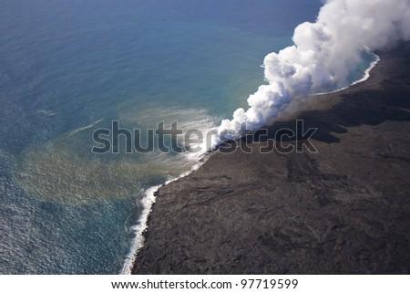 hawaii volcanoes national park, kai island/sea burning - stock photo
