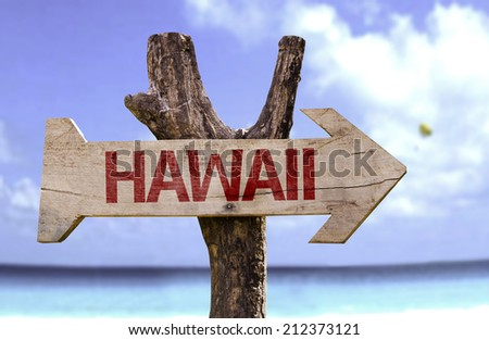 Hawaii wooden sign with a beach on background - stock photo