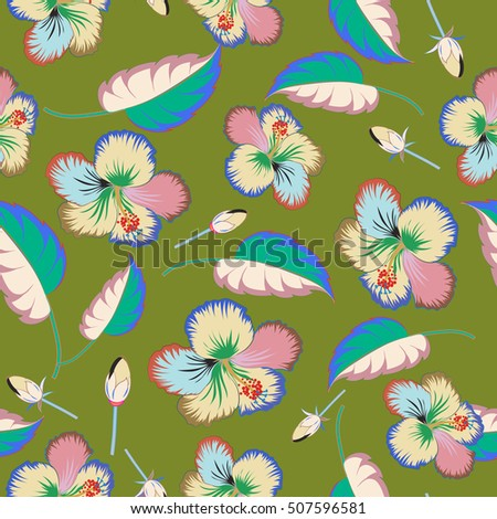 Hawaiian Aloha Shirt seamless pattern multicolored on a green background. Seamless pattern.