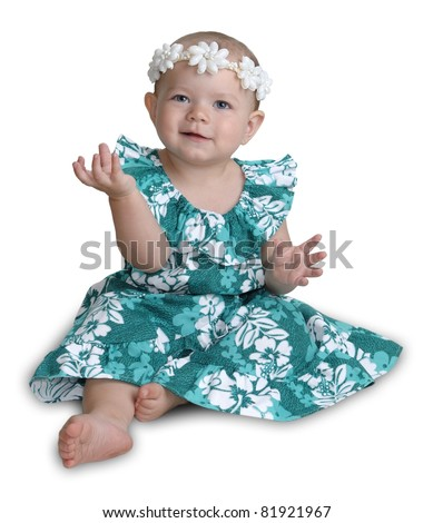 Hawaiian baby girl isolated on white. - stock photo