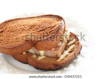 Hawaiian food, spam and cheese sandwich - stock photo