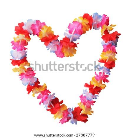Hawaiian lei in heart shape isolated on white - stock photo