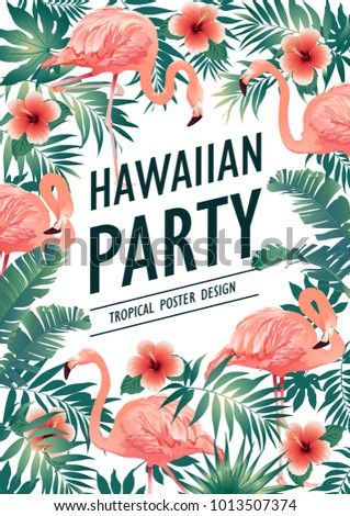 hawaiian party poster tropical birds flowers stock illustration