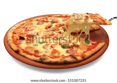 Hawaiian pizza isolate on white background - stock photo