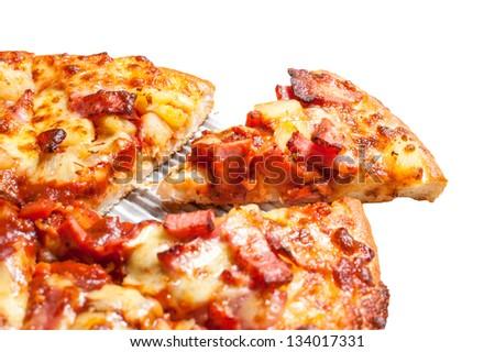 Hawaiian pizza piece - stock photo