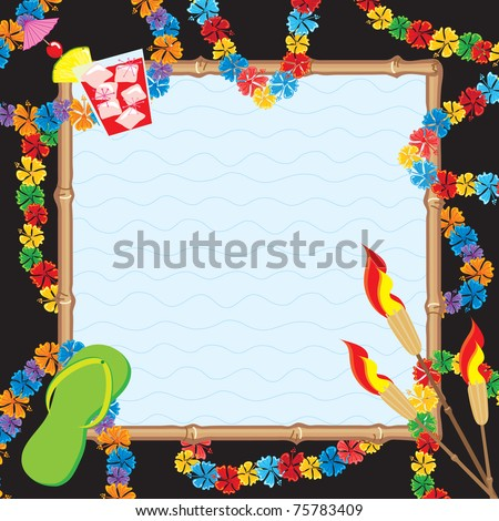 Hawaiian Pool Party Invitation. Colorful leis surrounded a bamboo framed pool - stock photo