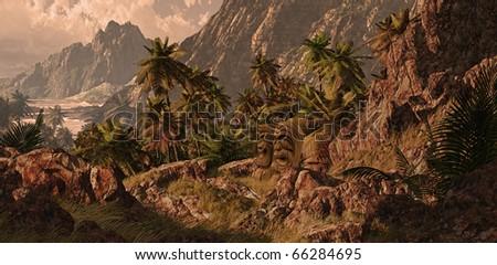 Hawaiian rocky coastline with tiki statues. - stock photo