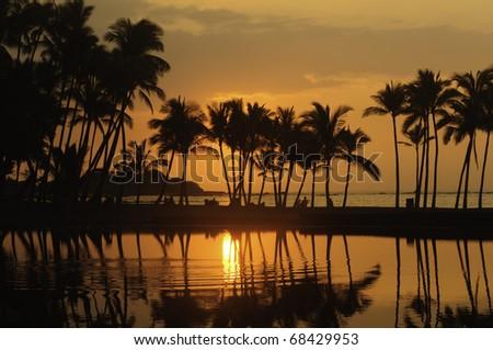 Hawaiian scenic: silhouettes of beachergoers and palm trees minutes before sunset at Anaehoomalu Bay on the Kona Coast of the Big Island - stock photo