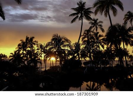 Hawaiian Sunset - stock photo