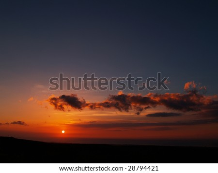 Hawaiian sunset at Waikoloa village - stock photo