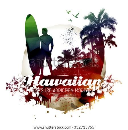 hawaiian surf beach with surfer - stock photo