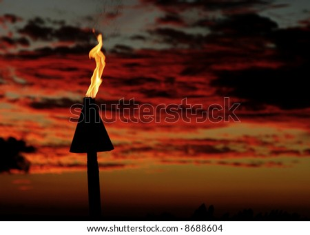Hawaiian torch burning at sunset - stock photo