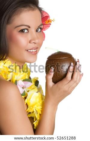 Hawaiian Woman - stock photo