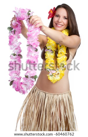 Hawaiian woman giving tropical lei - stock photo